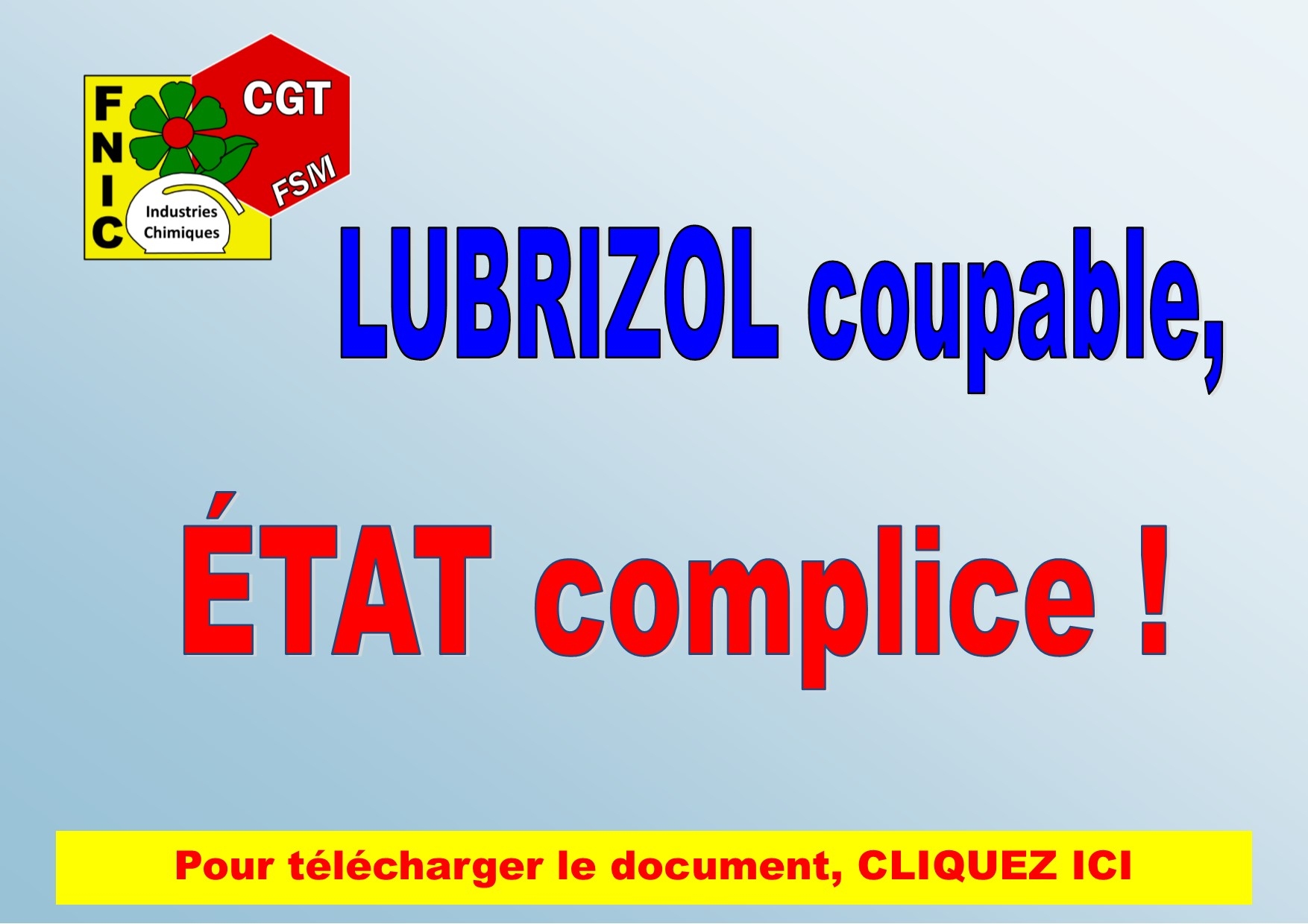 LUBRIZOL COUPABLE, ETAT COMPLICE !