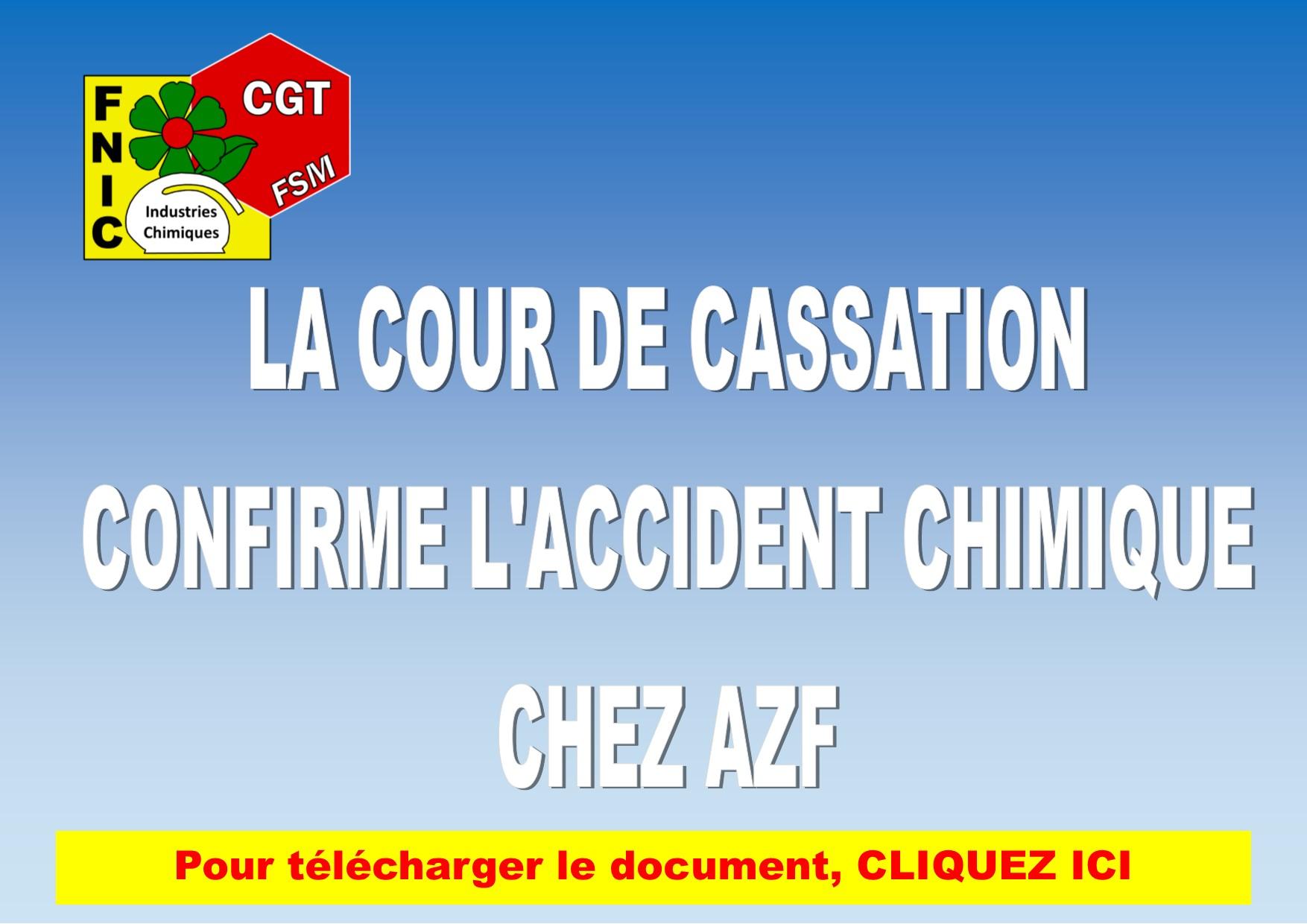 LA COUR DE CASSATION CONFIRME L'ACCIDENT CHIMIQUE CHEZ AZF