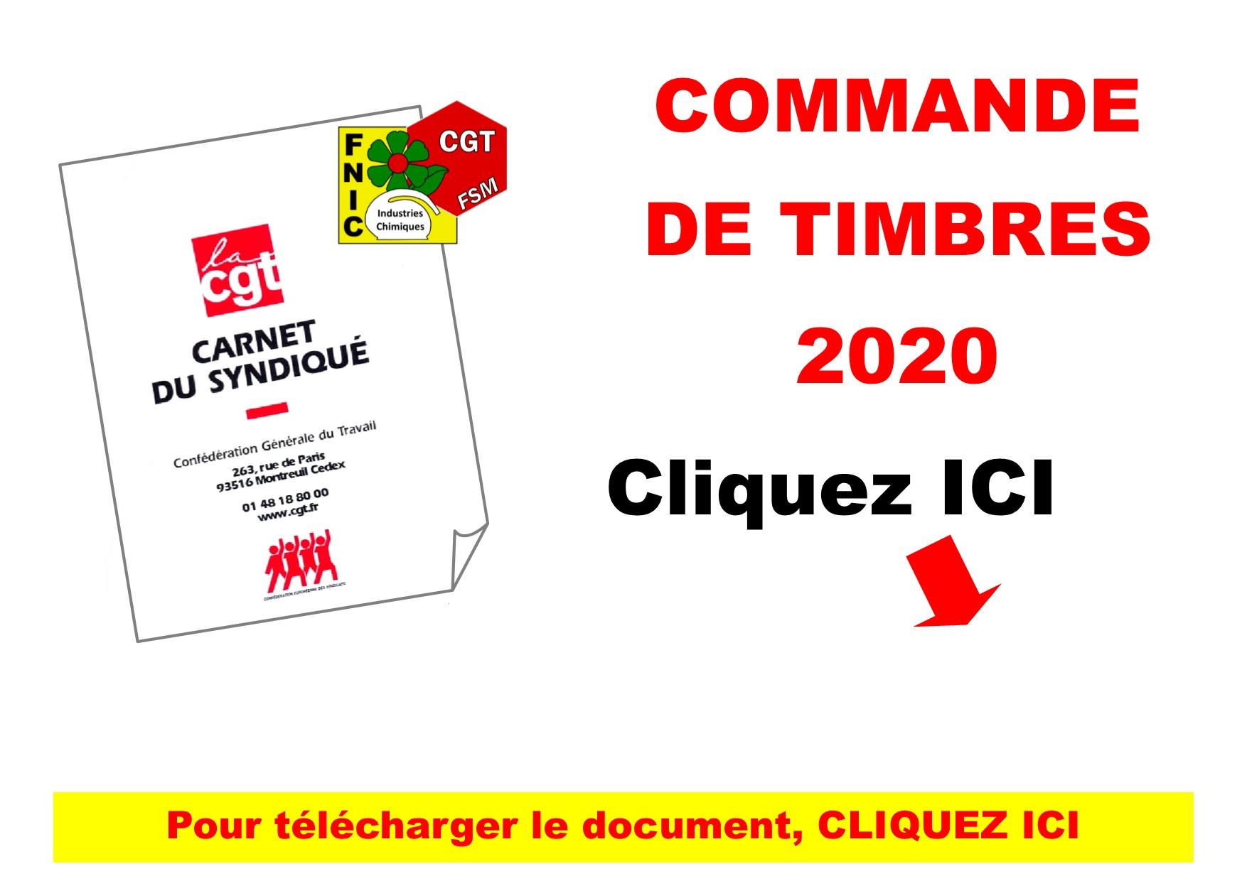 COMMANDE DE TIMBRES 2020