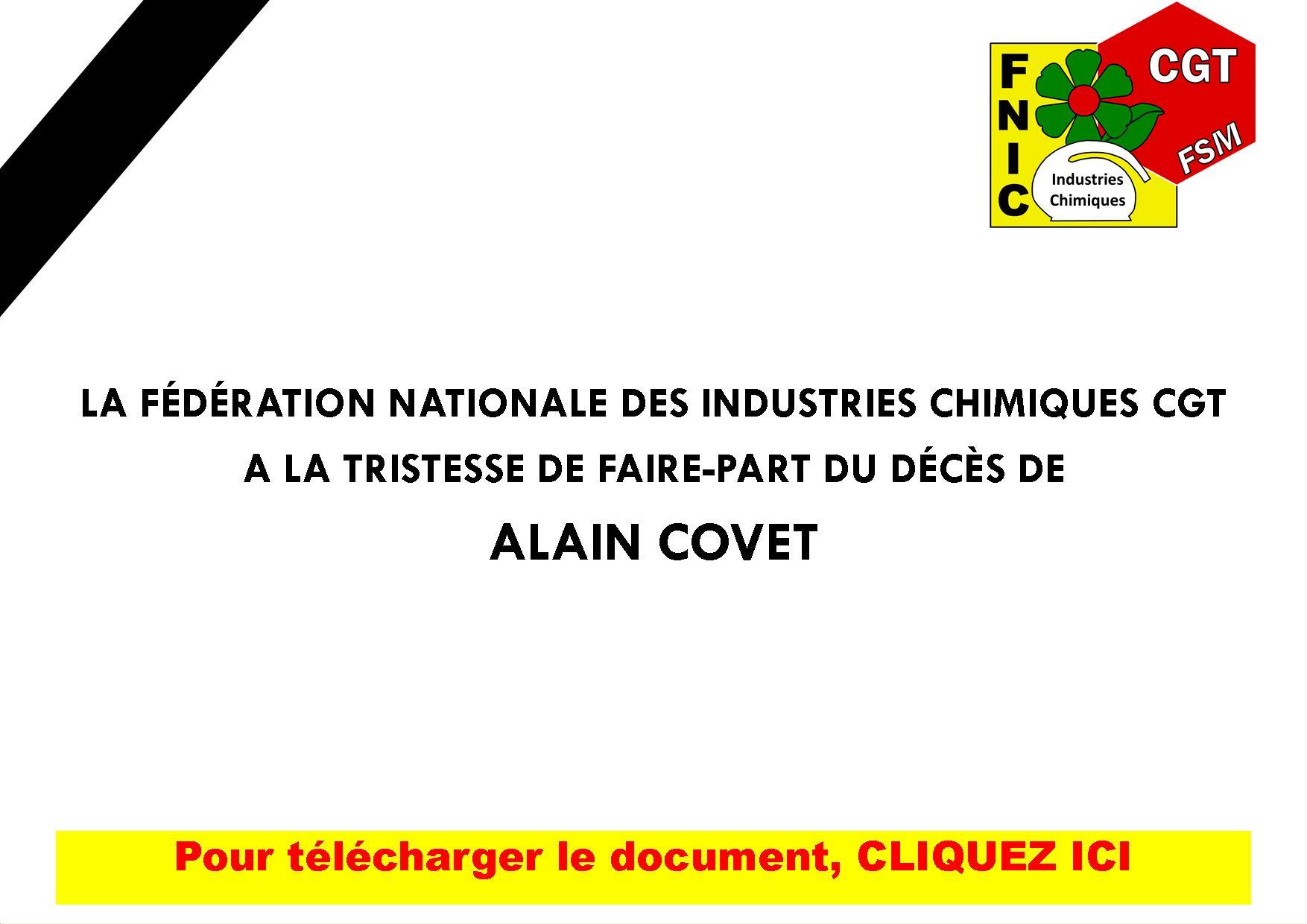 FAIRE-PART DU DÉCÈS DE ALAIN COVET