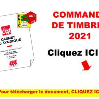 COMMANDE DE TIMBRES 2021