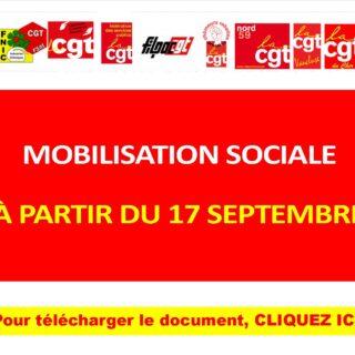 MOBILISATION SOCIALE à partir du 17 septembre