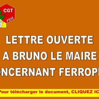 Lettre ouverte à Bruno Le Maire concernant FERROPEM